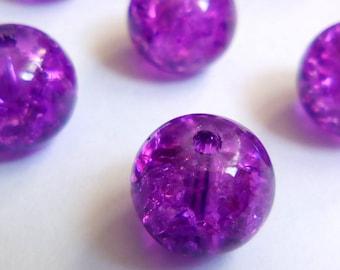 20 8mm purple Crackle glass beads