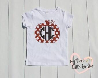 Monogramed Pumpkin Shirt, Toddler Monogram Shirt, Orange Pumpkin Shirt, Custom Monogram Shirt, Toddler Girl Fall Shirt, Thanksgiving Shirt