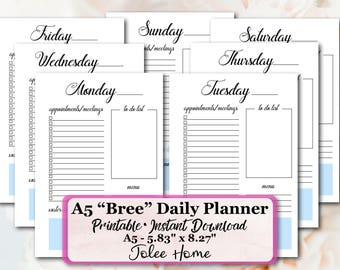 A5 Planner Inserts, A5 Planner Insert,  Daily Planner Inserts, A5 Inserts, Printable Planner, : Daily Planner Inserts Bree Daily Planner