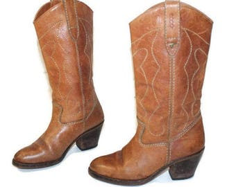 SALE ECCO Brown Leather Boots Leather Cowboy Boots Brown Rockabilly Leather Cowboy Boots Distressed Western Calf Heeled US 5.5 Eur 36 Uk 3