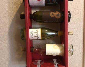 Hanging wine rack, Farmhouse Wine Rack, Americana Wine Rack, Wood Wine Rack