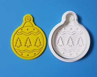 Round Ornament - Christmas Tree Cookie Cutter and Stamp