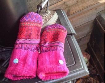 BRIGHT fuschia, red and blue Scandi design sweater mittens, medium