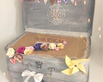 Double urn watercolor and burlap floral suitcase
