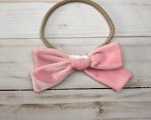 Pink Velvet - Handtied Bow - Nora Bow - Nylon Headband - Single Prong Hair Clip