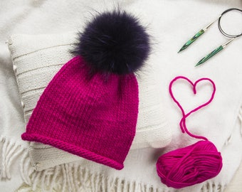 Hot Pink knit hat Women pom hat Pink pom hat Raccoon fur extra large Raccoon pom beanie Oversized hat Red wool knit hat Hipster beanie