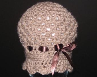 Newborn Cloche Hat, Cloche Hat, Brown Cloche Hat, Newborn Flapper Hat, Photo Prop Hat