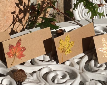 Autumn Placecards, Fall Leaves, Fall wedding seating cards, Fall Food Tents, Fall Food Labels -8/order