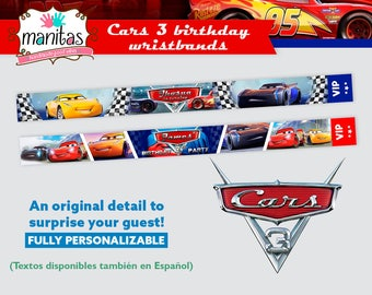 40 pack - Cars 3 Birthday Wristbands - Party Wristbands - Custom Wristbands - Personalized Wristbands - Cars 3 Wristband - Cars 3