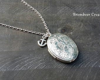Necklace with silver medallion and anchor