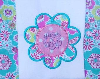 Girls spring flower applique monogram shirt, baby girls monogram flower shirt, spring monogram shirt, girls monogram shirt