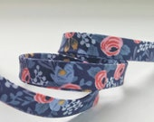 Rifle Paper Co Bias Tape -  Half Inches Double Fold Bias Tape - Quilt Binding - Les Fleurs Rosa Navy