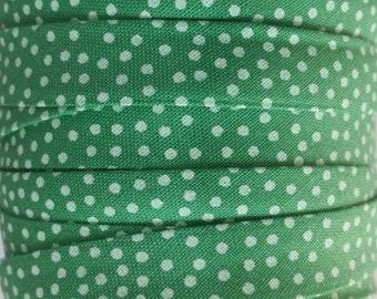 Green Polka Dot Bias Tape - Michael Miller - 1/2 Inches Double Fold Bias Tape - Quilt Binding - Cotton Bias Tape  - Meadow Green Bias Trim