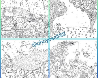 Doodle Coloring Page set of 4 - Little guy's Adventure theme - Doodle Art