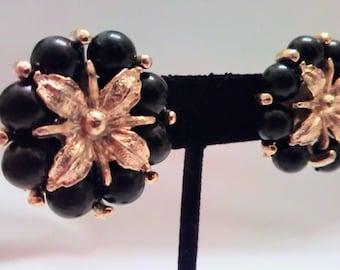 VTG Black & Gold Flower Clip On Earrings
