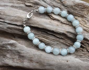 Aquamarine Bracelet, Milky Blue Aquamarine, Blue Gemstone Bracelet, Aquamarine Jewelry, Genuine Aquamarine