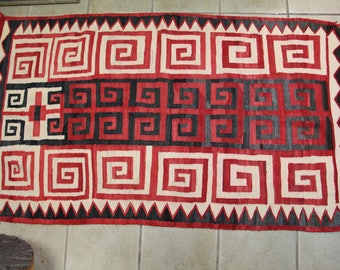 """Antique Early 1900s Navajo Rug 64"""" x 37"""""""