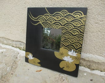 Wood frame mirror hand painted