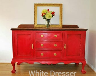 Sold Upcycled Red Large Vintage Hand Painted Sideboard/ Buffet/server,red  Painted Furniture