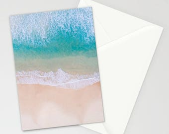 Summer Beach Stationary, Blue Ocean Stationary, Sand Stationary Set, Notecards, Thank You Cards, Tropical Stationary Cards, Gifts for Her