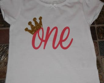 First birthday shirt, one with crown shirt, birthday shirt, first birthday, glitter shirt, glitter crown shirt, princess birthday shirt