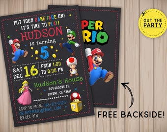 Super Mario invitation, Super Mario birthday invitation, Super Mario chalkboard invitation, Super Mario party invitation