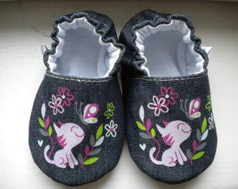 Baby handmade shoes, baby denim shoes, baby slippers, baby booties, baby booty, baby mocs, baby gift, crib shoes, shower gift