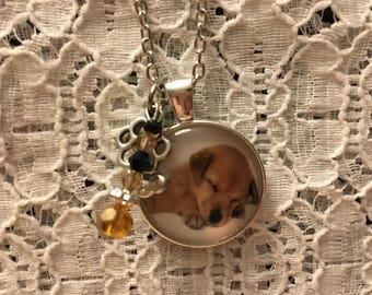 Sleepy Lab Puppy Charm Necklace/Lab Puppy Necklace/Lab Puppy Jewelry/Lab Puppy Pendant/Yellow Lab Necklace/Yellow Lab Jewelry