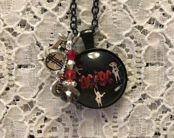 AC/DC Charm Necklace/Rock Music Jewelry/Rock Music Necklace/Rock Music Pendant