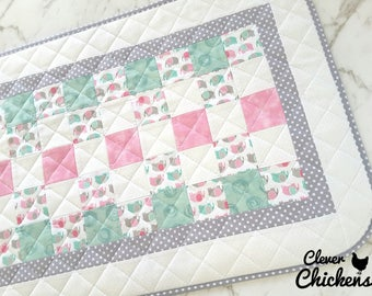 Waterproof Baby Change Mat, Changing Pad Wipeable, Unique Baby Shower Gift, New Baby Gift, Baby Girl, Newborn Gift, Elephants Mint Pink Grey