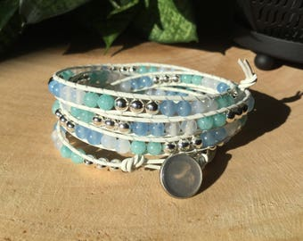Leather, agate, jade and aquamarine wrap bracelet