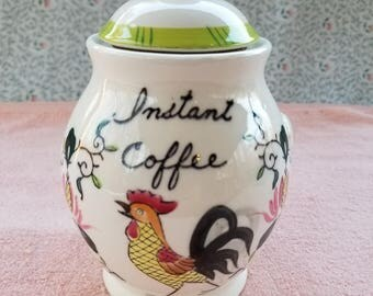 """Vintage Rooster Instant Coffee Jar With Lid Spoon Holder 6"""" Tall"""