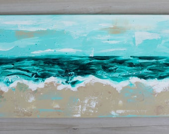 Sail on the Sea, Beach Painting, Wall Art, 24x12