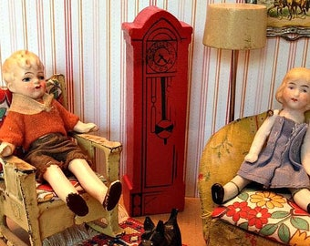 Vintage Miniature Strombecker Wooden Red Grandfather Clock in 3/4 or 1:16 Scale for the Dollhouse
