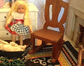 Vintage Miniature Wooden Rocking Chair made by White House for the 1:12 Scale Dollhouse