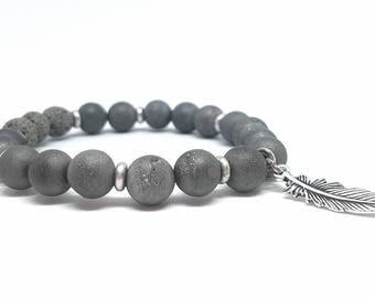 Charcoal druzy diffuser bracelet