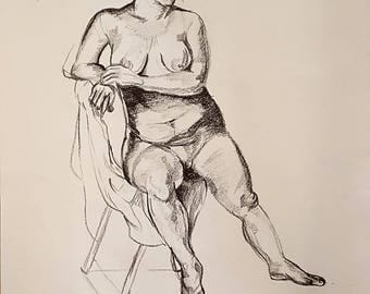 "Untitled Figure Drawing #23 (24"" x 18"" Conte Crayon)"