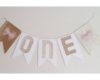 Gold Birthday Banner, Pink and Gold, Gold First Birthday