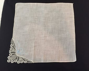 Vintage Handkerchief / Lace & Blue Flowers