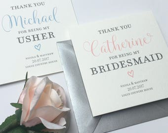 Personalised Wedding Day Thank You Bridesmaid Card | Best Man | Usher | Flower Girl | Classic Script Range