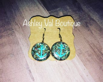 Anchor Turquoise gold earrings, earring drop, sparkly earrings