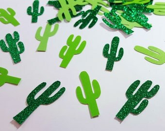 50 pcs Green Glitter Cactus Confetti / Fiesta / Taco Party / Cinco de Mayo / Cactus Decor / Mexican Party / Fiesta Party Decorations