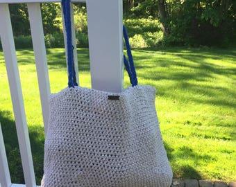 Tweed Beach Bag With Blue Handles, Crochet Beach Bag, Crochet Bag, Plain Beach Bag, Summer Gift, Tote