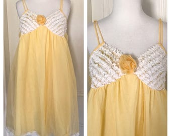 Yellow 60's Negligee Night Gown Dress