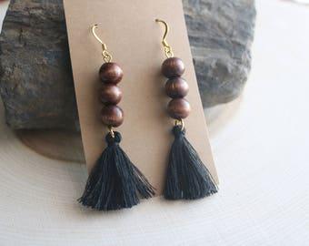 Bohemian Wood and Tassel Earrings, Bohemian Jewelry, Valentine's Day Gift