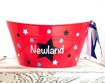 Personalized 4th of july picnic tub, Independence Day, custom made