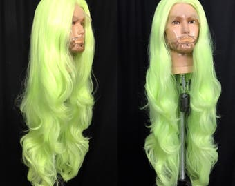 Xtra long slime green wig