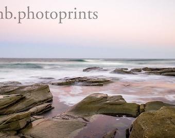 Mooloolaba Point Cartwright Seascape Sunset Ocean Beach Rocks Wall Decor Pastel Wall Art Nature Photography Long Exposure Art Print