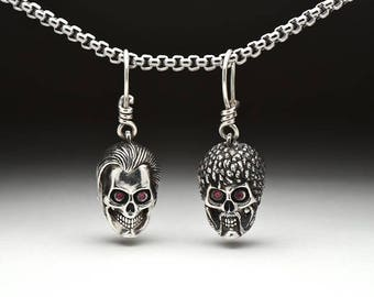 Pulp Fiction Vincent and Jules skulls silver unpaired earrings, Quentin Tarantino John Travolta cubic zirkonia jewelry, sterling silver