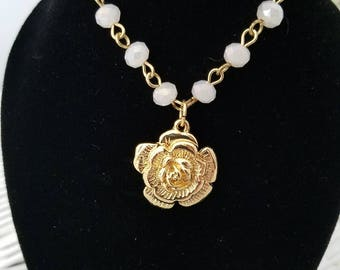 OOAK SD ball jointed doll necklace bracelet anklet set gold and white with a gold rose